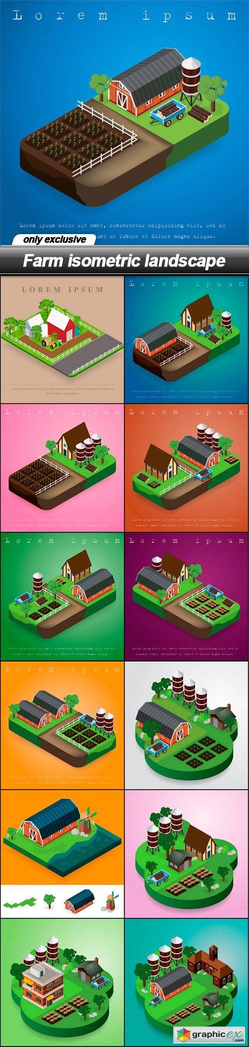Farm isometric landscape - 13 EPS
