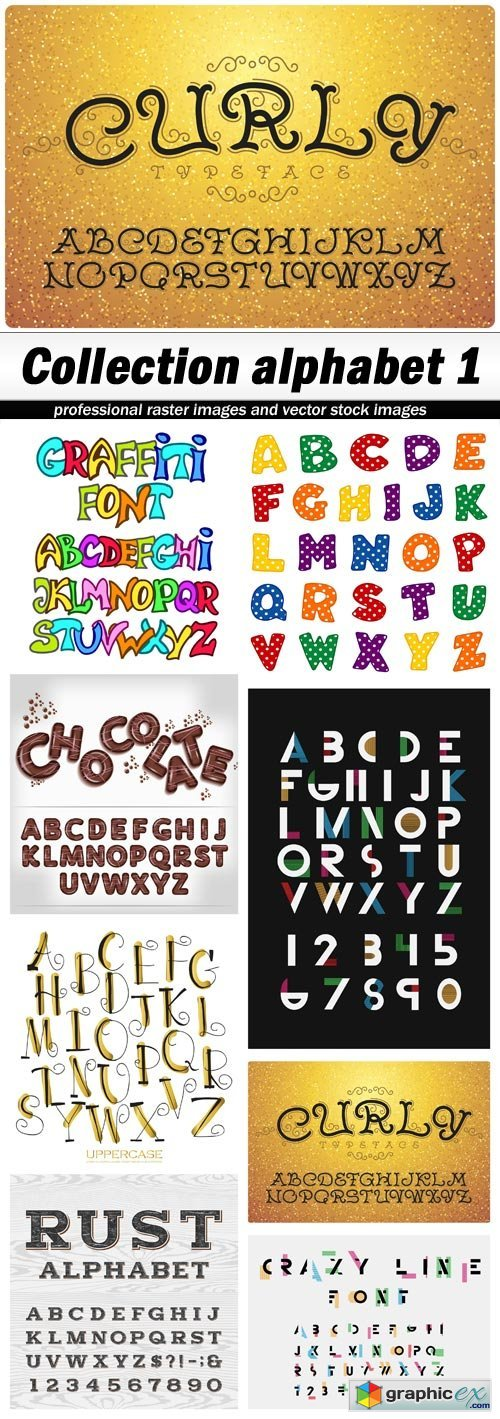 Collection alphabet 1 - 8 EPS