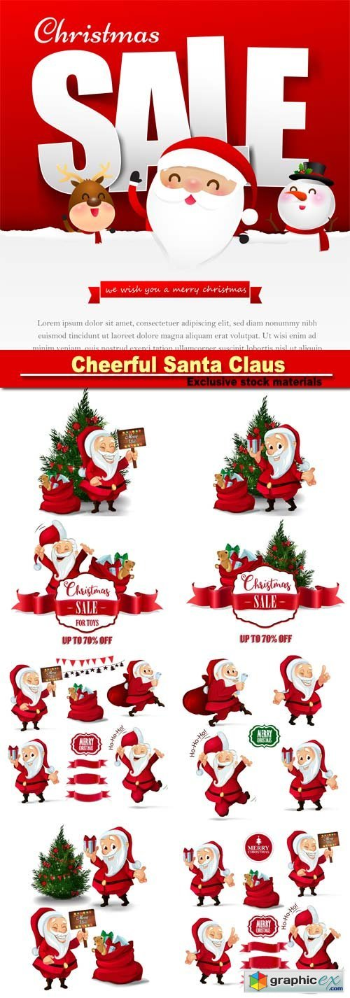 Cheerful Santa Claus, Christmas vector