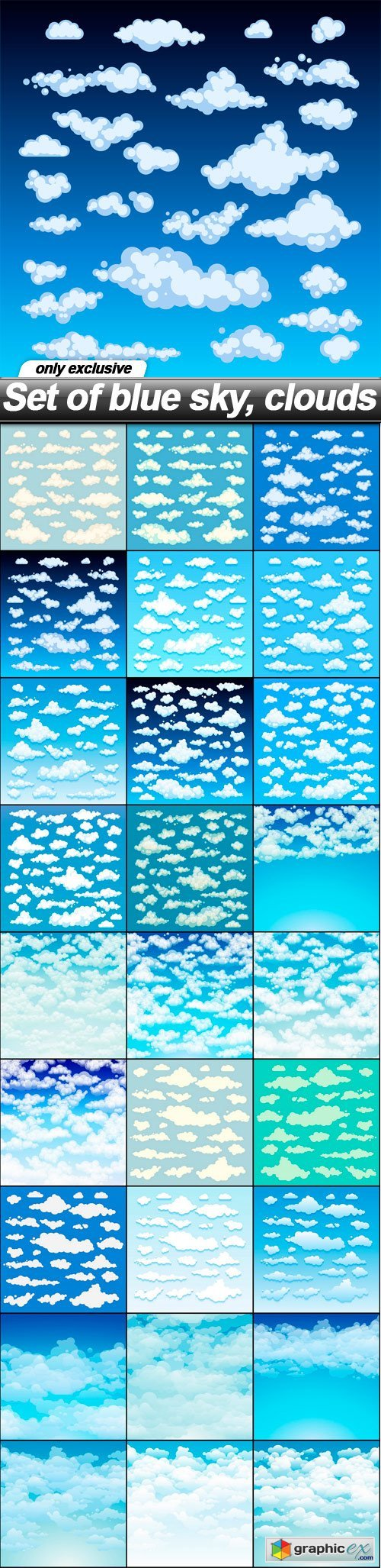 Set of blue sky, clouds - 27 EPS