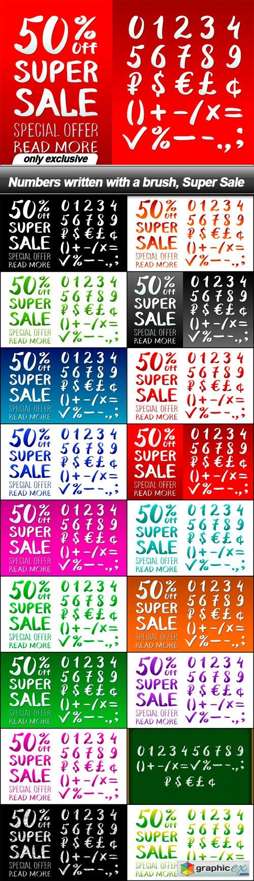 Numbers written with a brush, Super Sale - 18 EPS