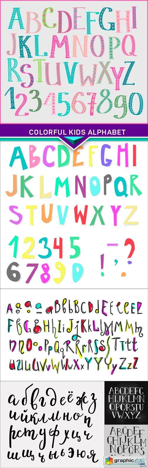 Colorful kids alphabet 6X EPS