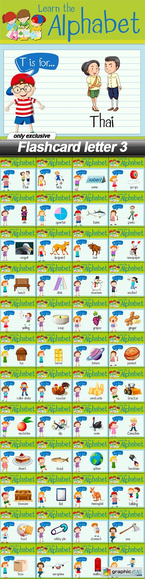 Flashcard letter 3 - 48 EPS