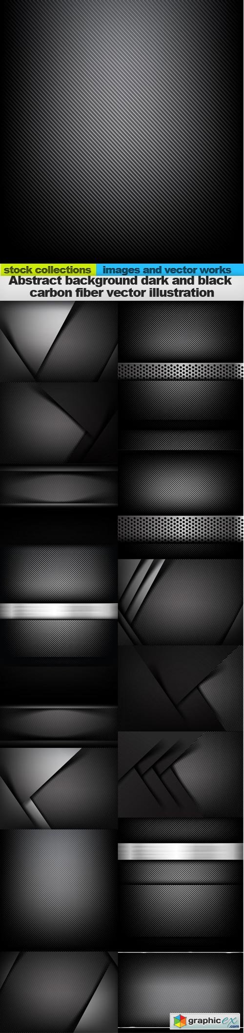 Abstract background dark and black carbon fiber vector illustration, 15 x EPS