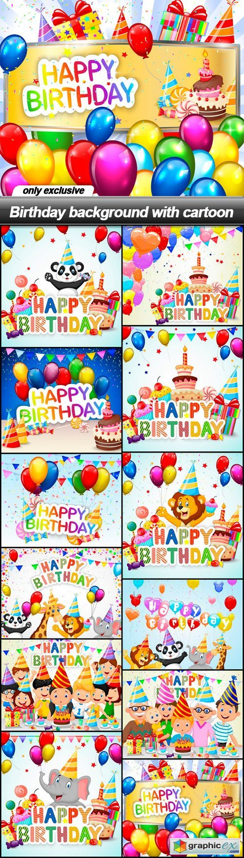 Birthday background with cartoon - 12 EPS