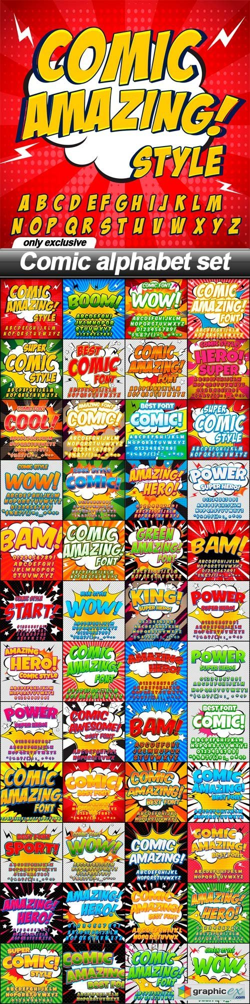 Comic alphabet set - 48 EPS