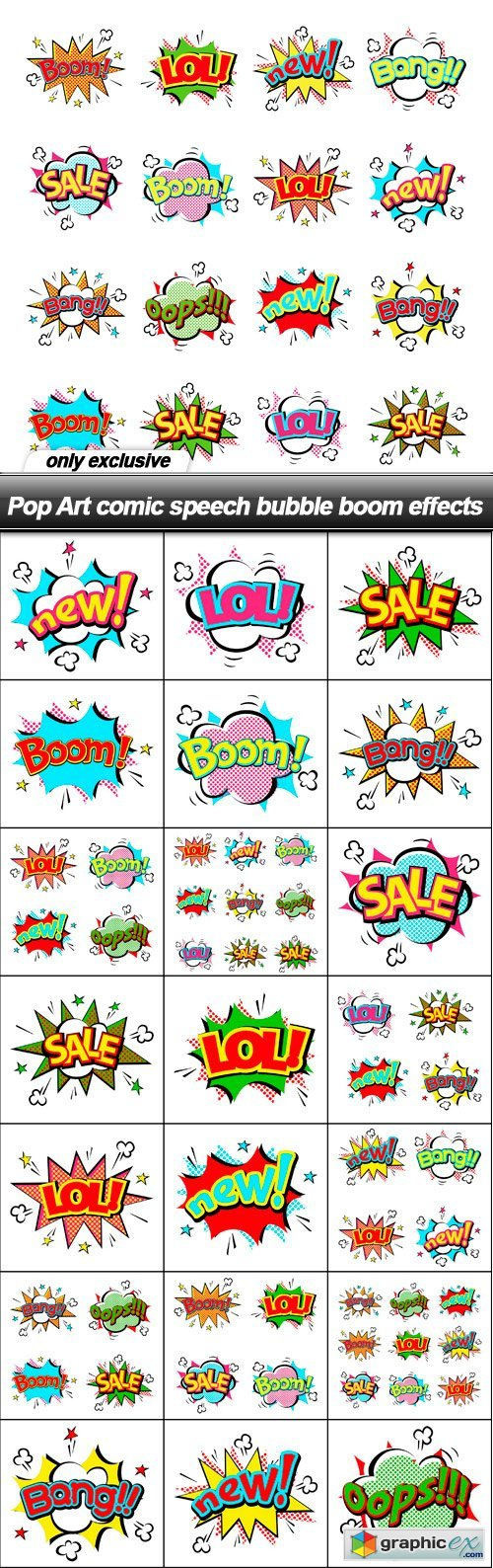 Pop Art comic speech bubble boom effects - 22 EPS