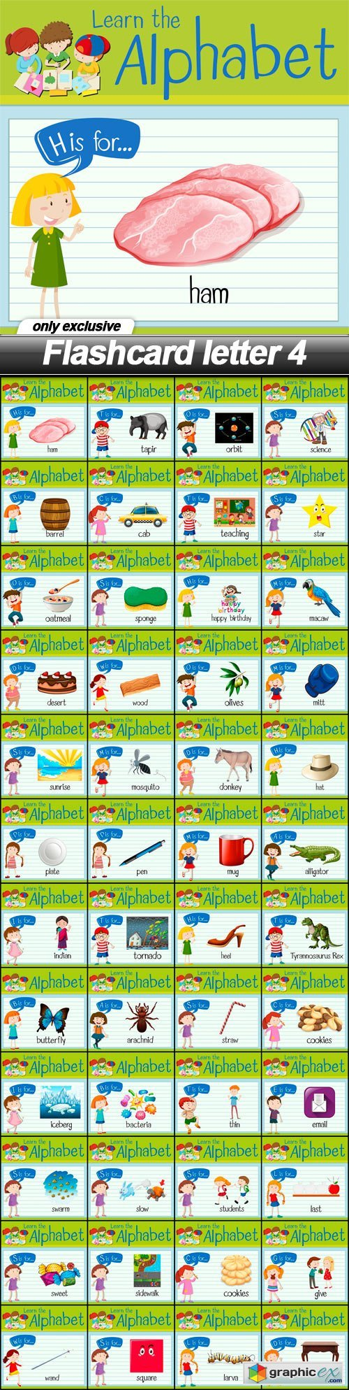 Flashcard letter 4 - 48 EPS