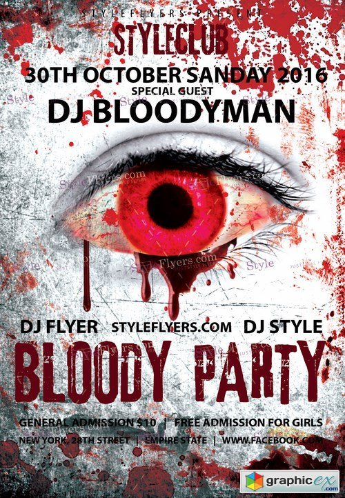 Bloody Party PSD Flyer Template + Facebook Cover