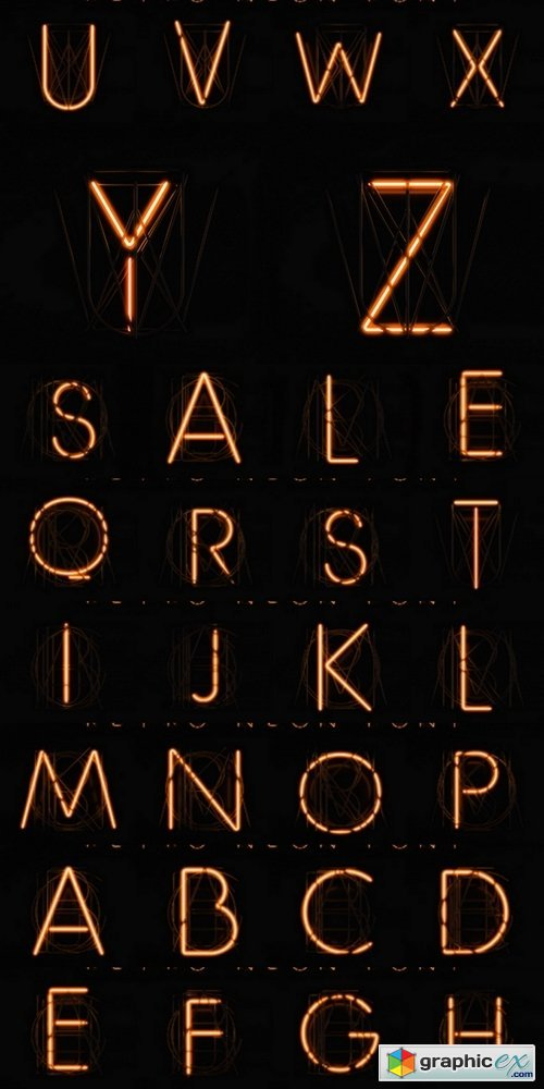 Glowing Neon Alphabet. 3D illustration. Orange neon on a black background