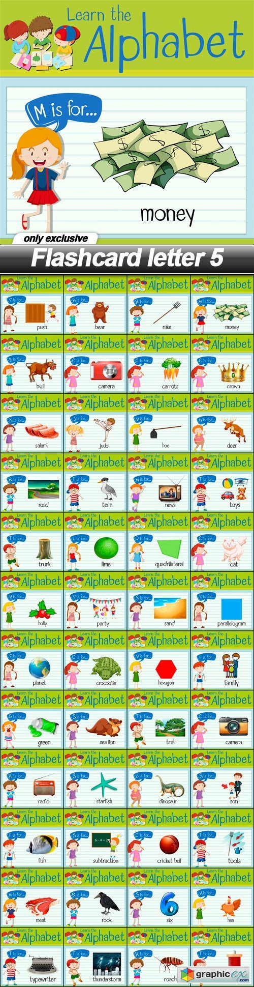 Flashcard letter 5 - 48 EPS