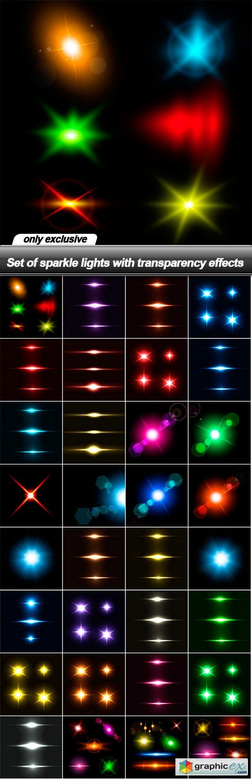 Set of sparkle lights with transparency effects - 32 EPS