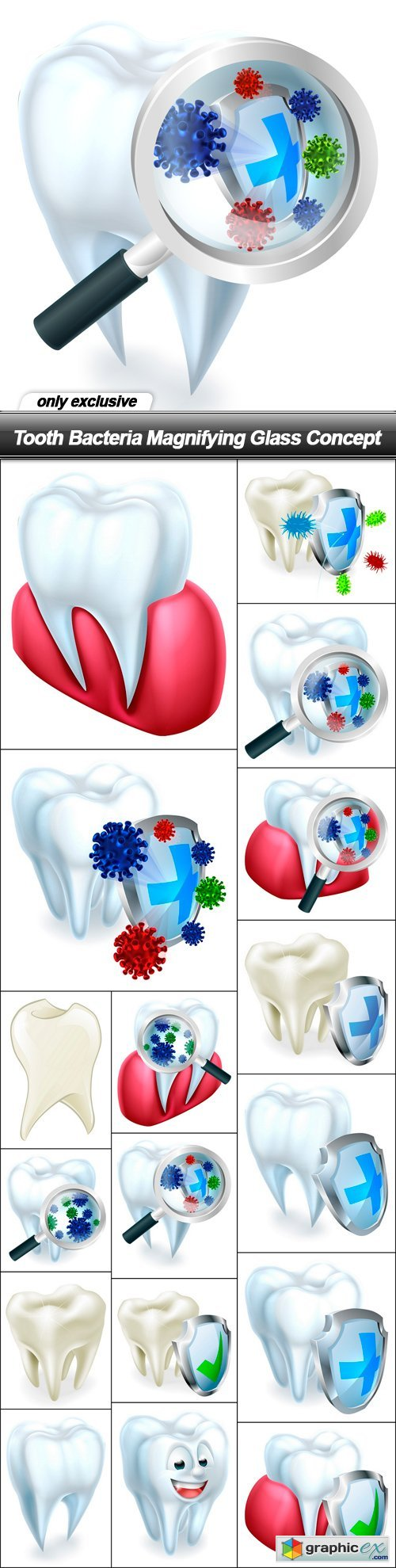 Tooth Bacteria Magnifying Glass Concept - 17 EPS