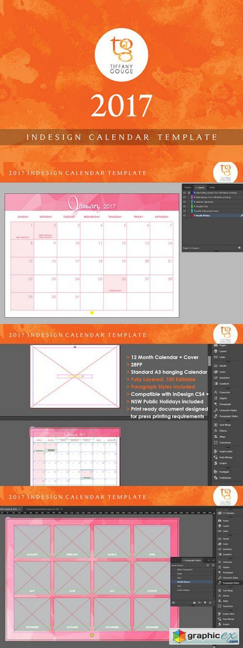 Calendar Template 2017 (Indesign) » Free Download Vector Stock