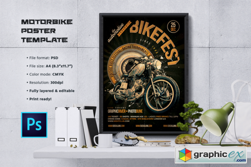 motorcycle flyer poster template free download vector stock