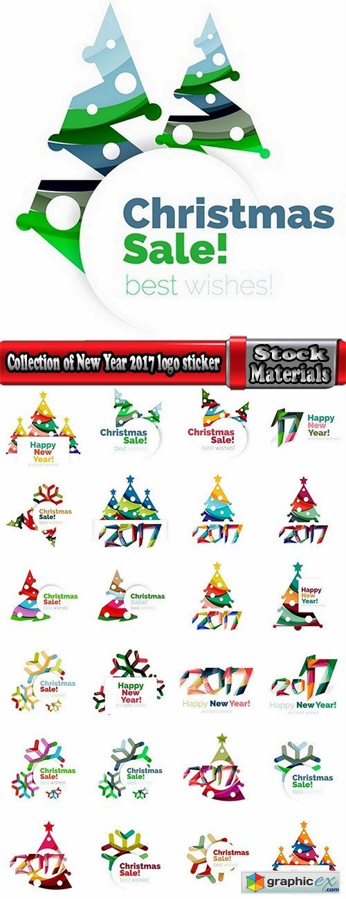Collection of New Year 2017 logo sticker snowflake Christmas tree sale discount 25 EPS