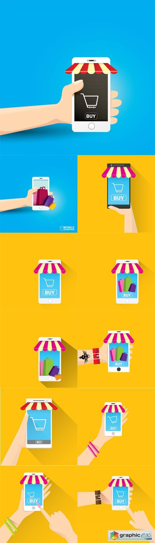 Online Mobile Shopping Concept Backgrounds