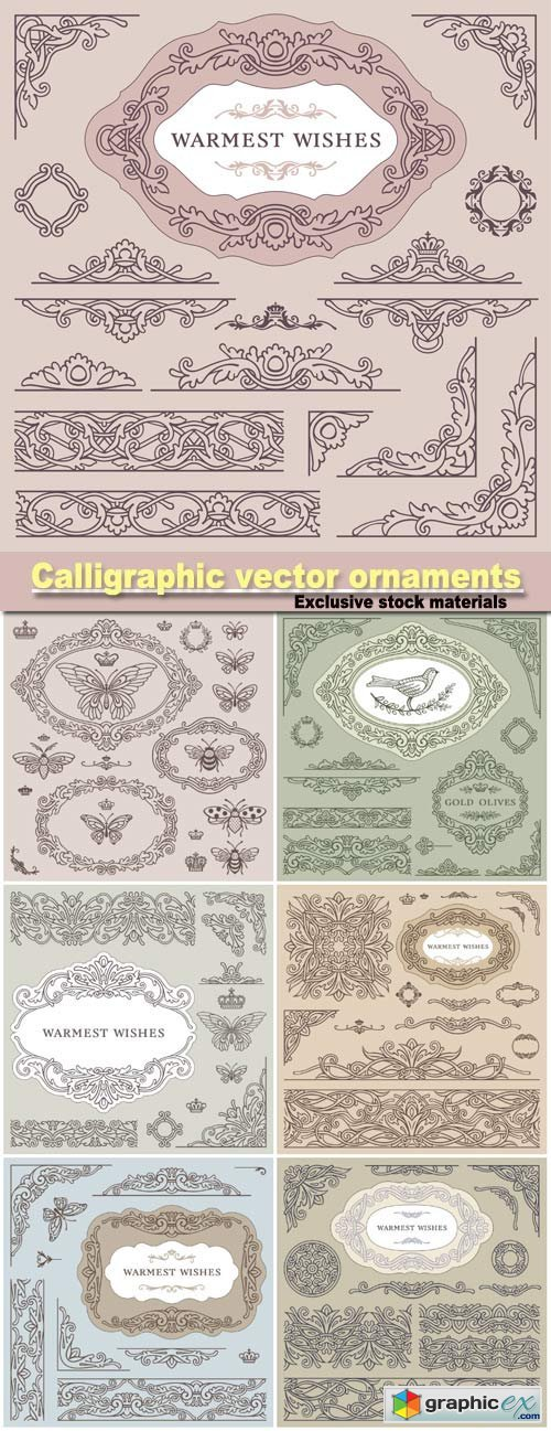 Calligraphic vector ornaments, borders and frames, warmest wishes