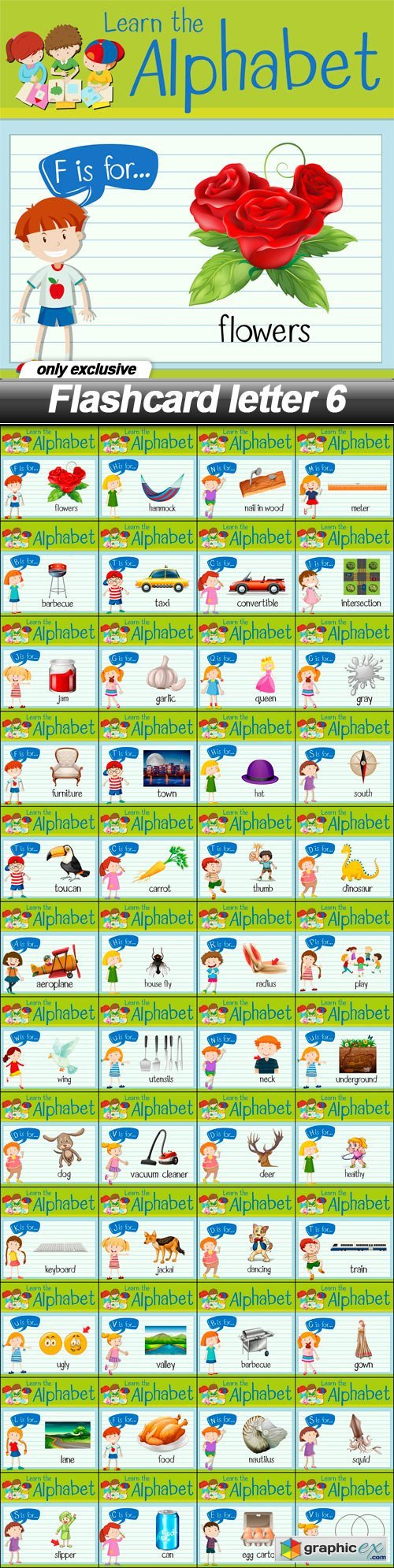 Flashcard letter 6 - 48 EPS