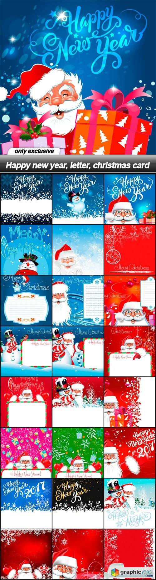 Happy new year, letter, christmas card - 25 EPS