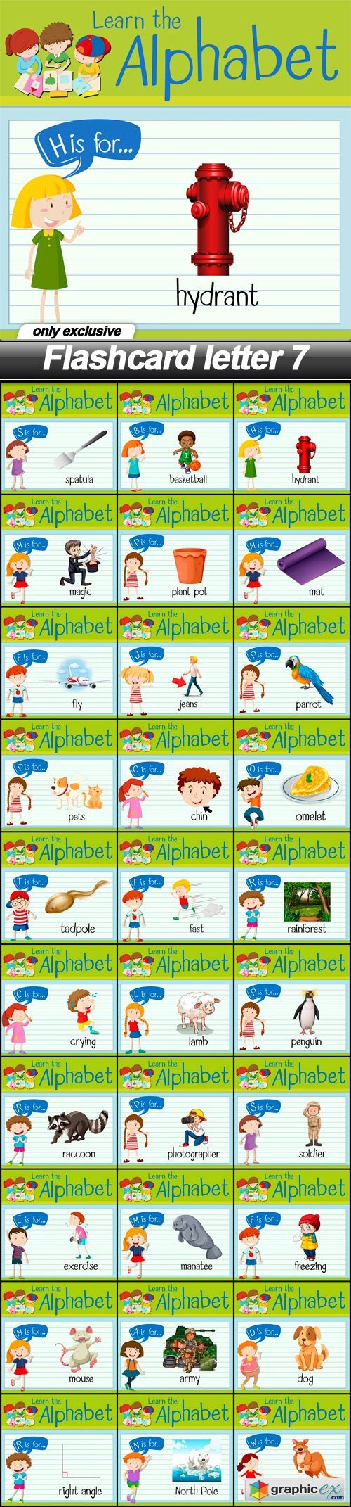 Flashcard letter 7 - 30 EPS