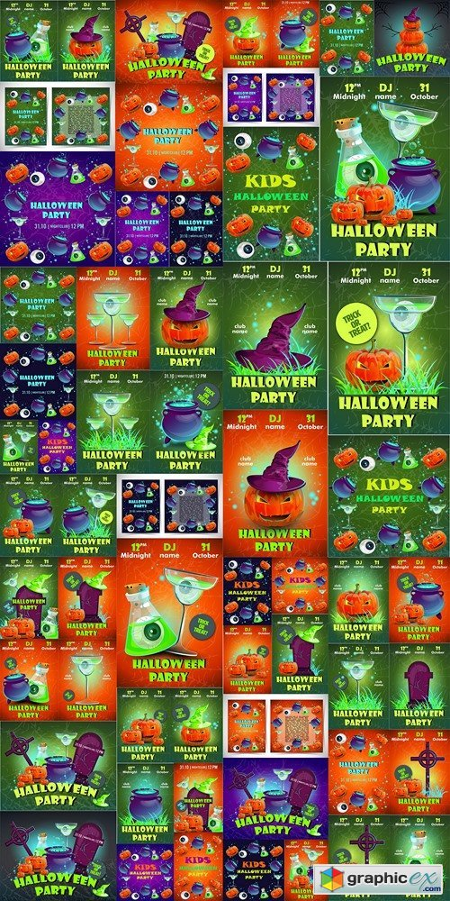 Halloween party poster.Halloween flyer,Vector illustration.trick or treat