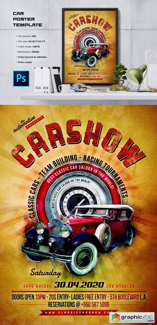 Car Show Flyer Poster Template Free Download Vector Stock - Car show flyer background