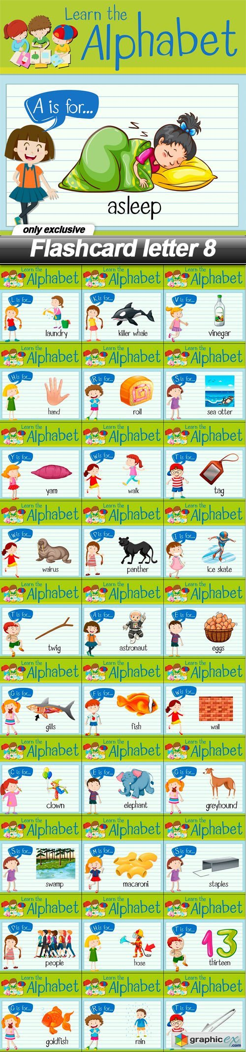 Flashcard letter 8 - 31 EPS