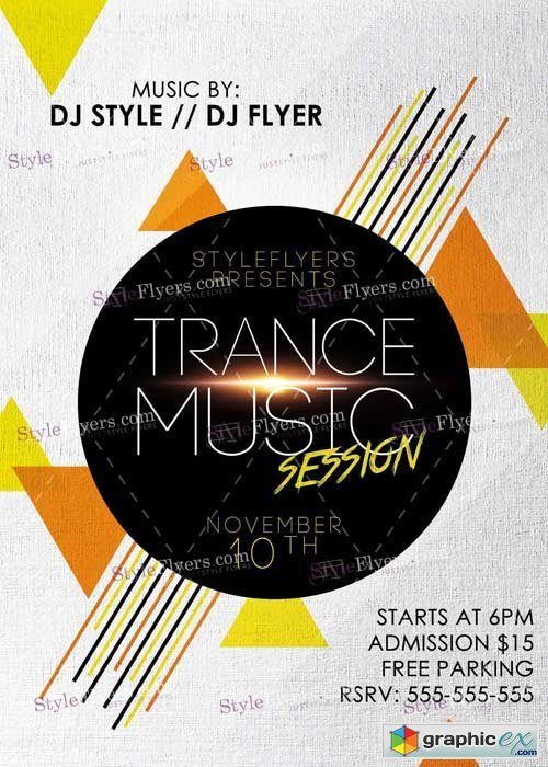 Trance Music Session PSD V5 Flyer Template