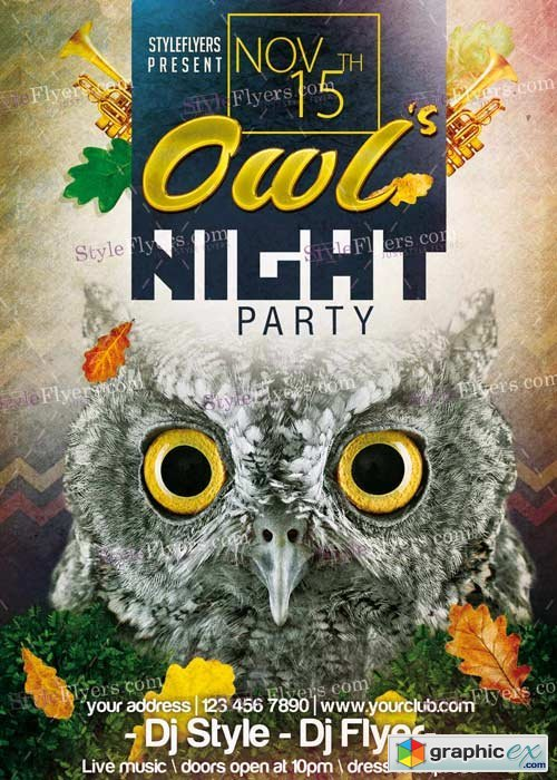 Owl�s Night Party PSD V8 Flyer Template