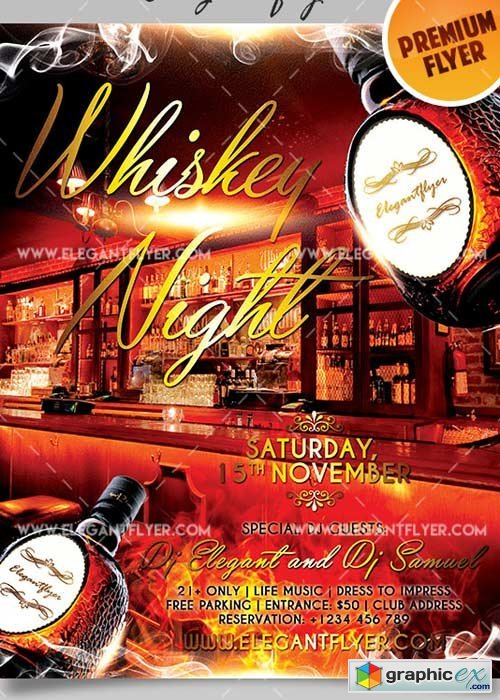 Whiskey Night V8 Flyer PSD Template + Facebook Cover