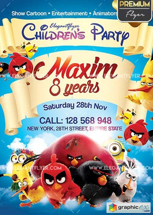 Children's Party V01 Flyer PSD Template + Facebook Cover