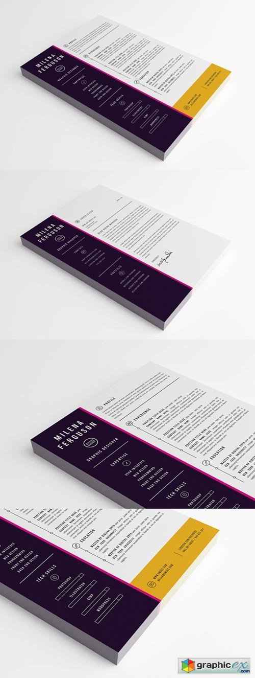 Stylish Resume Template (PSD, Ms Word)
