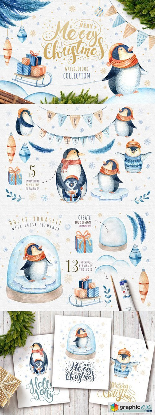 Watercolour penguins