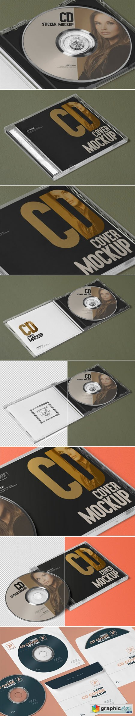 Stylish Plastic CD Case, CD Cover and Label Sticker Mockups Generator