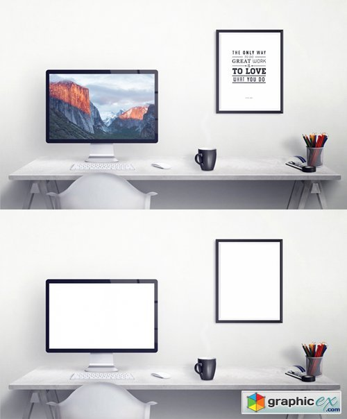 Workspace with Apple Display Mockup
