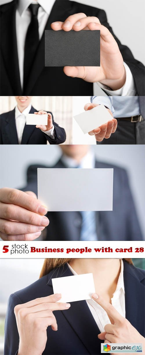 Business people with card 28