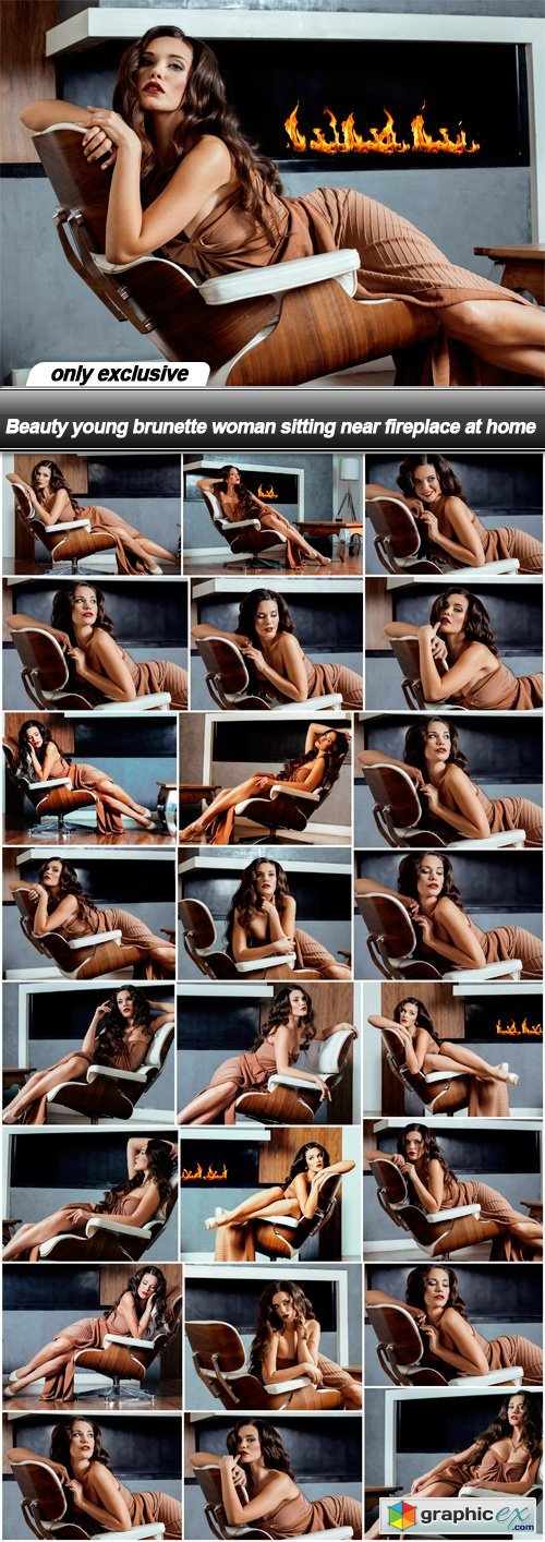 Beauty young brunette woman sitting near fireplace at home - 25 UHQ JPEG