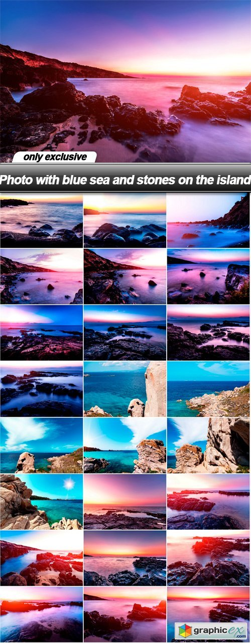 Photo with blue sea and stones on the island - 25 UHQ JPEG
