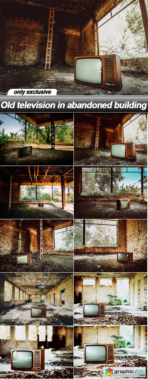 Old television in abandoned building - 10 UHQ JPEG