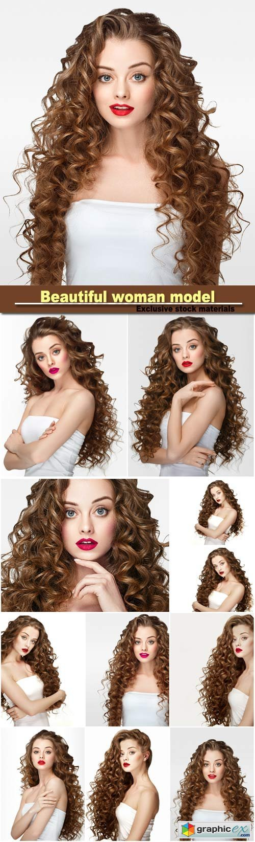 Beautiful woman model with long curly hair