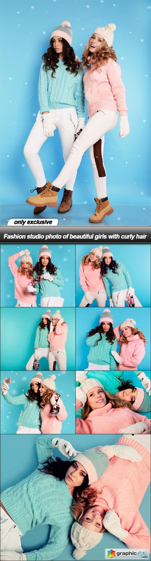 Fashion studio photo of beautiful girls with curly hair - 8 UHQ JPEG