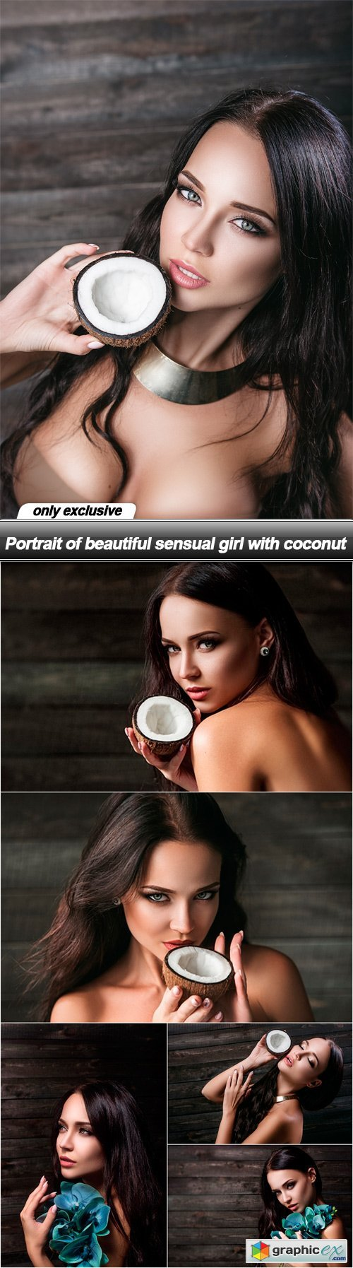 Portrait of beautiful sensual girl with coconut - 6 UHQ JPEG