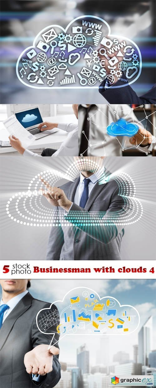 Businessman with clouds 4
