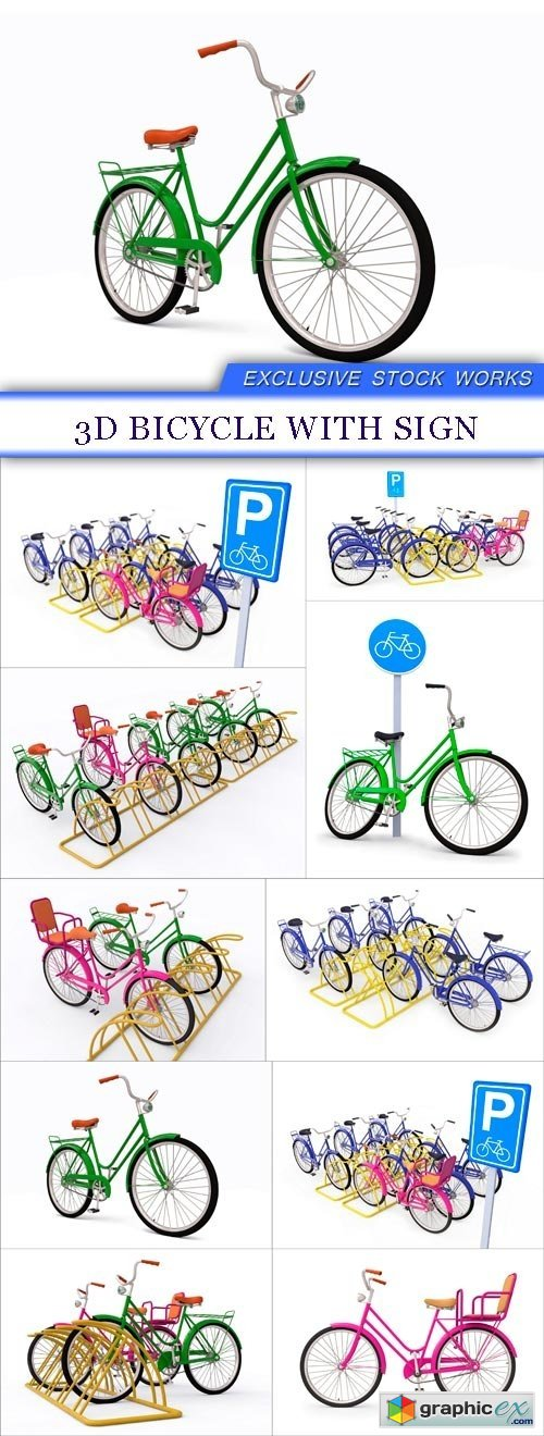 3D bicycle with sign 10X JPEG
