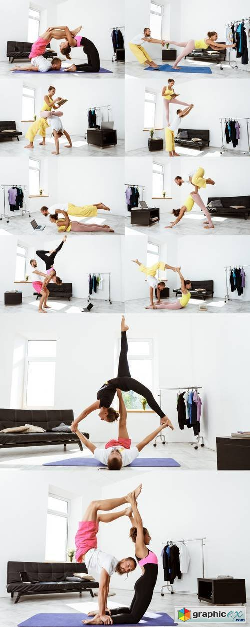 Young Beautiful Sportive Couple Training Partner Yoga