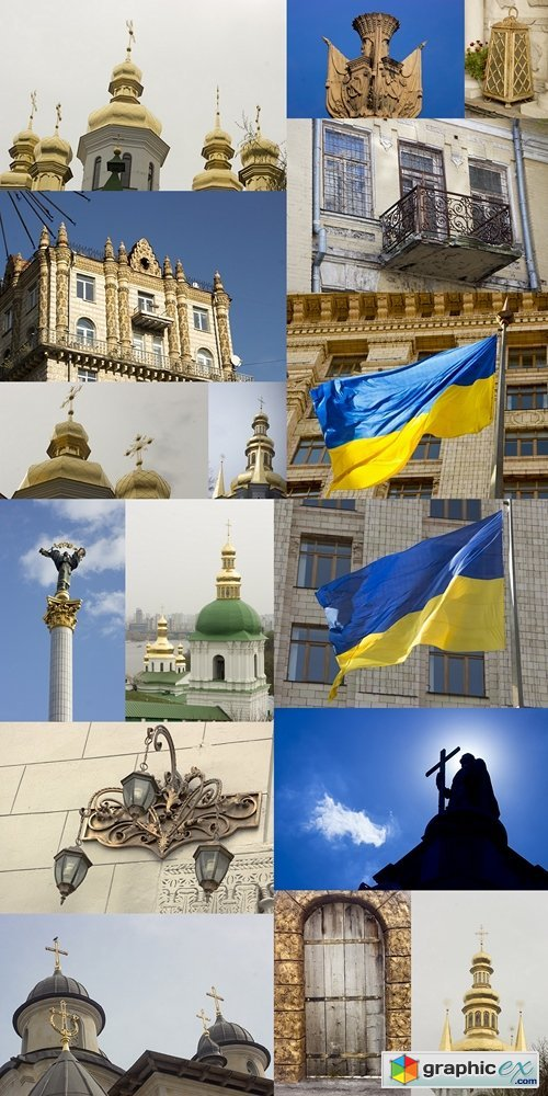 Old house. Ukrainian flag. Architecture and city