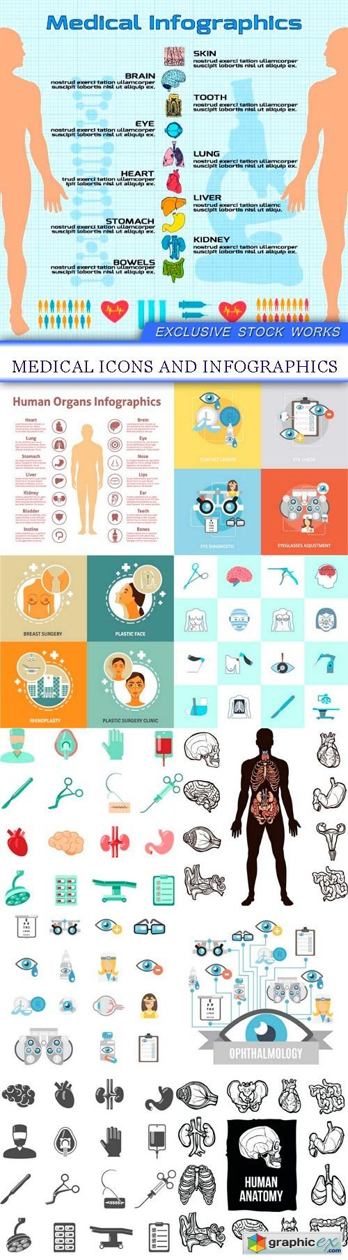 Medical icons and infographics 11X EPS