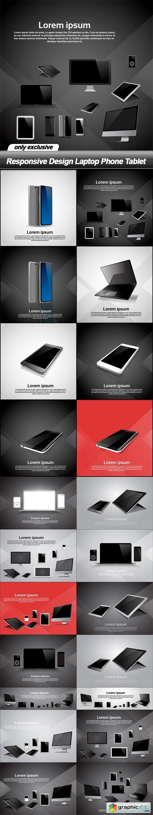 Responsive Design Laptop Phone Tablet - 22 EPS