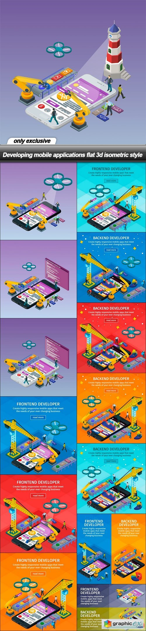Developing mobile applications flat 3d isometric style - 14 EPS